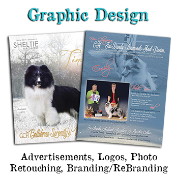 Show Dog Advertisements for Dog Show magazines with Dog Breeder Graphic Design.