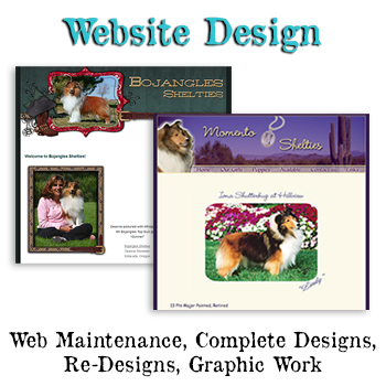 Breeder Websites and dog breeder web design with graphic design for dog show.
