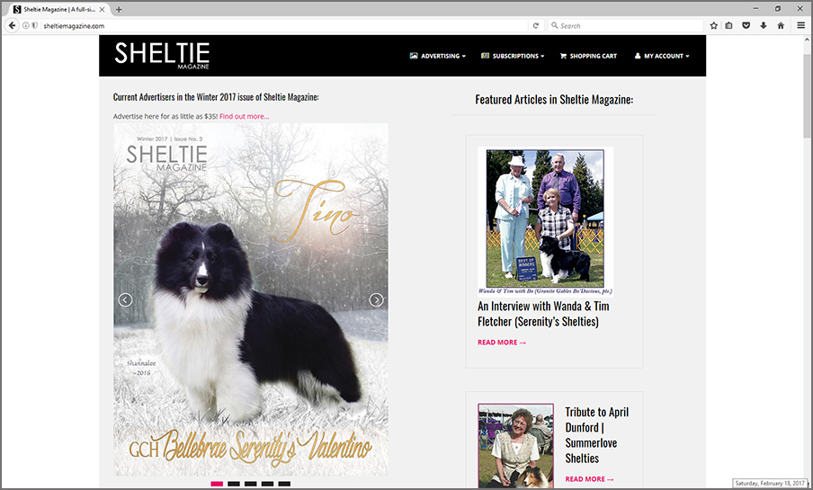 Magazine Website for Sheltie Magazine