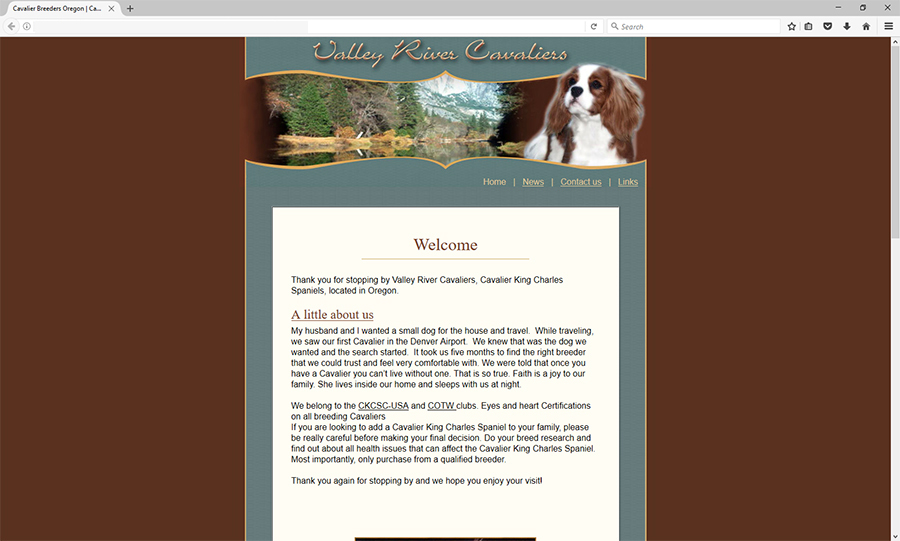 Complete html site for Cavalier website